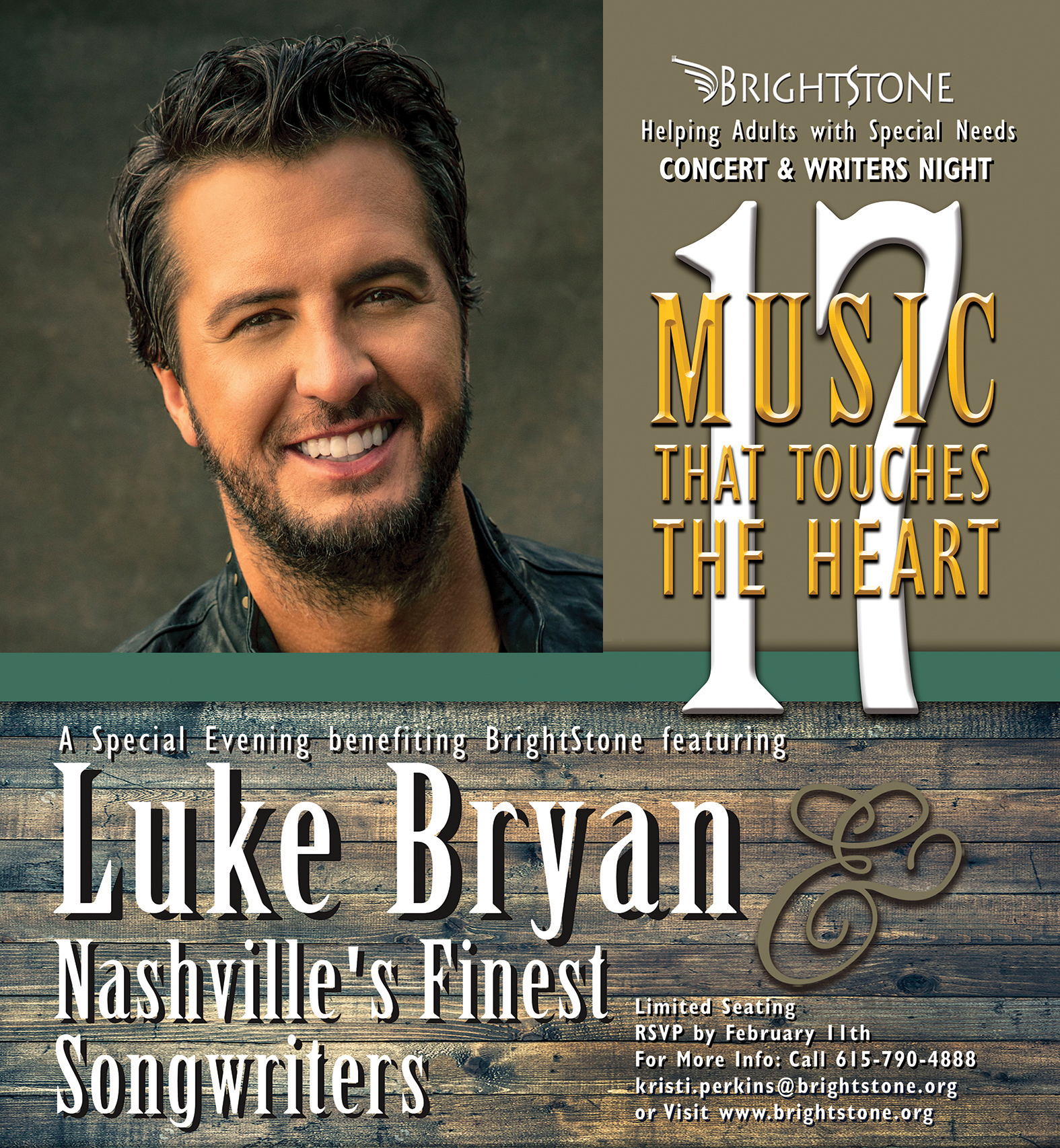 17th Annual Music That Touches the Heart featuring Luke Bryan, Feb. 19th 2019, Save the Date!